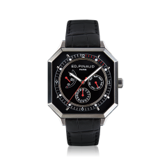 Power reserve auto watch (black dial, black leather strap)