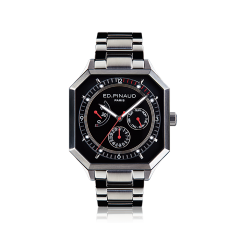 Power reserve auto watch (black dial, stainless steel bracelet)