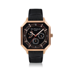 Power reserve auto watch (black dial,black leather strap, pink gold pvd case)