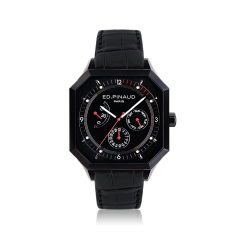 Power reserve auto watch (black dial & leather strap, black pvd case)