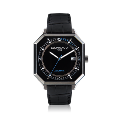 Automatic Watch - Steel Case, Black Dial, Black Leather Strap