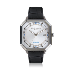 Automatic Watch - Steel Case, Silver Dial, Black Leather Strap