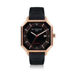 Automatic Watch - Pink Gold PVD Case, Black Dial, Black Leather Strap