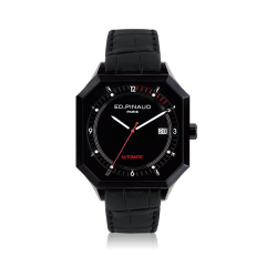 Automatic Watch - Black PVD Case, Black Dial, Black Leather Strap