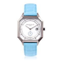 Sport watch - Steel Case,12 Diamonds, Riviera Blue Leather Strap