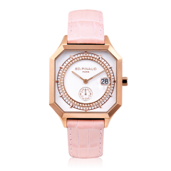 Sport watch - PG PVD Steel Case, Diamonds Circle, Lotus Pink Leather Strap