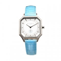 Sport watch - Steel Case,84 Diamonds, Riviera Blue Leather Strap