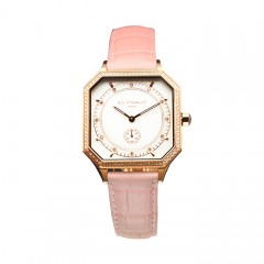 Sport watch - PG PVD Steel Case, 84 Diamonds, Lotus Pink Leather Strap
