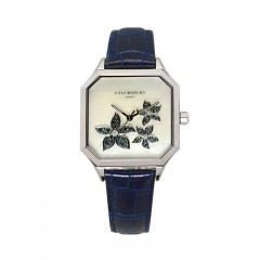 L'Essentielle Watch - SS Case, Diamonds and Sapphires, Blue Leather Strap