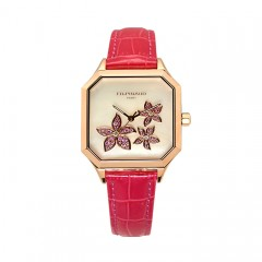 L'Essentielle Watch - PG PVD Case, Diamonds and Pink Sapphires, Rose Leather Strap